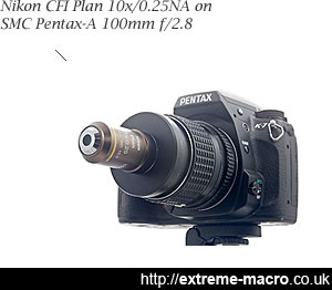 Nikon CFI Plan 10x infinite objective on a tube lens